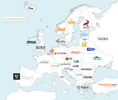 Map Of Europe Countries Map Of Europe By Biggest Internet Company Founded In Each Country
