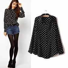 black polka dot blouse blusas femininas 2015 casual blouses sleeve black white