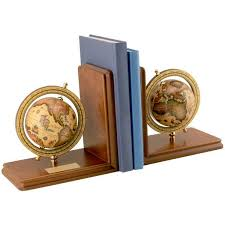 engraved bookends globe bookends on wood base