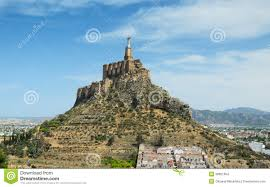 spanish valley with ancient castle of monteagudo stock photo