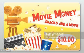 theater gift cards theatre gift card template popcorn soda slate vector