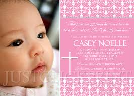 Christening Invitation Card Maker Online Damask Baptism Christening Dedication Photo Invitation Pink Purple
