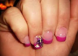 acrylic fake nail designs with pink base and flower print accent