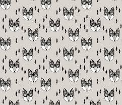 fox geometric fox head woodland animals grey nursery baby baby