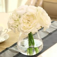 white hydrangea bouquet roses peony bridal hydrangeas silk flower white wedding decor