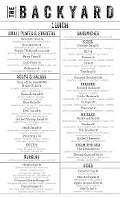 the backyard menu menu for the backyard milton milton