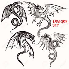 dragon tattoo designs on hand tattoo vector set hand drawn dragons for design royalty free