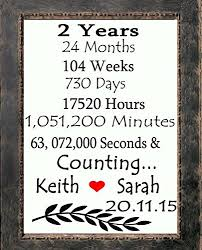 two year anniversary gift 2 years and counting initials heart canvas