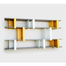 cute modern wall shelves design and wonderful white yellow color