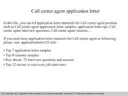 Call Center Agent Resume Sample Call Center Agent Application Letter 1 638 Jpg Cb U003d1409860229