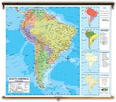 World Map Of Deserts Advanced South America Political Classroom Map On Spring Roller
