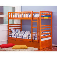 Twin Over Twin Bunk Beds With Trundle by Merax Twin Over Twin Bunk Bed With Trundle In Oak Finish Walmart Com