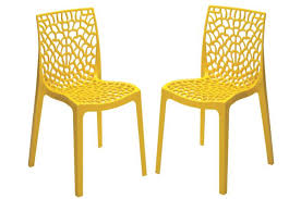 chaises jaunes lot de 2 chaises design jaunes opaques filet design sur sofactory