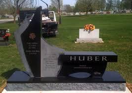 huber bench contemporary design headstone in granite