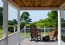 maine oceanfront cottage covered porch with ocean view wrap