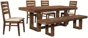 six piece modern rustic rectangular trestle table with ladderback