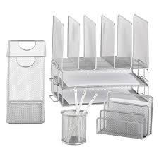 White Desk Organizer Silver Mesh Desk Station Silver Mesh Desk Organizer The
