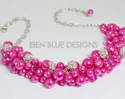 etsy necklace pearl images Hot pink necklace etsy jpg