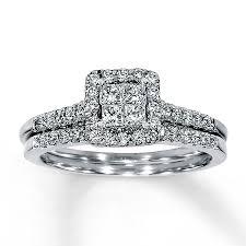 Jared Cushion Cut Engagement Rings Jared Diamond Bridal Set 5 8 Ct Tw 14k White Gold Wedding