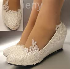 white light ivory lace wedding shoes flat low high heel wedges
