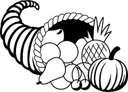 thanksgiving cornucopia black and white clipart