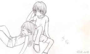 sketches anime couples holding hands coloring pages cute anime