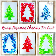 Decoration Of Christmas Cards by Reverse Fingerprint Christmas Tree Card Rhythms Of Play