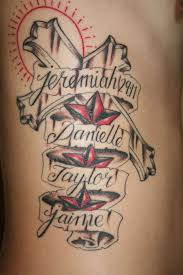 cross tattoo designs with names tattoos with wife and kids name