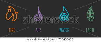 abstract four elements air water stock vector 738436390
