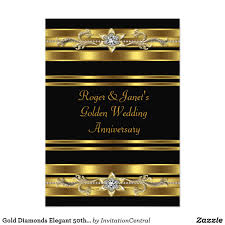 Golden Wedding Invitation Cards Gold Diamonds Elegant 50th Wedding Anniversary Card Elegant