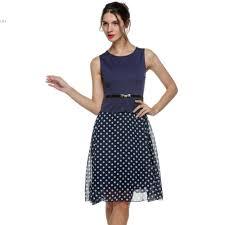 2016 fashion women summer dresses casual vintage boho belted polka