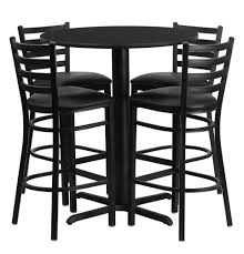 bar height round dining table set with 4 bar stool chairs