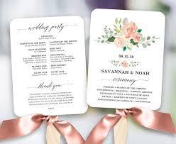 printable wedding program fans blush floral wedding program fan template printable fan