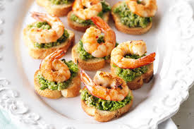 canapes with prawns pea and chilli prawn crostini