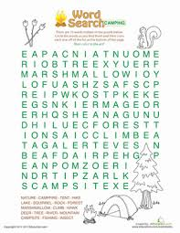 word search camping worksheet education com