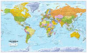 Pacific Time Zone Map World Political Wall Map Huge Size 1 20m Scale Xyz Maps