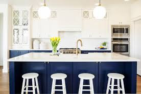 Two Tone Kitchen Cabinets Unique Two Tone White And Navy Blue Kitchen Cabinet And Kitchen