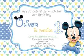 baby mickey 1st birthday baby mickey 1st birthday invitation partyexpressinvitations