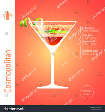 cosmopolitan cocktail cosmopolitan cocktail ingredients vector stock vector 173530004