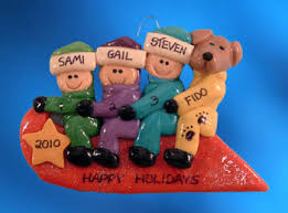 personalized toboggan family 3 and ornament