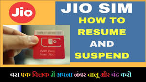 suspend and resume how to suspend or resume jio 4g sim services without visiting or