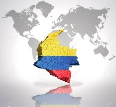 Map Of Colombia Map Of Colombia With Colombian Flag On A World Map Background