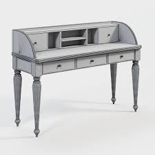 Secretary Writing Desk by Ladys Writing Desk Hutch 3d Model Cgtrader