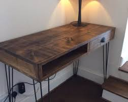 wood and metal writing desk desks etsy uk