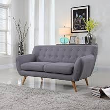 Amazoncom MidCentury Modern Linen Fabric Sofa Loveseat In - Sofa mid century modern