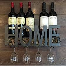 wall mounted metal wine rack 4 stem glass holder