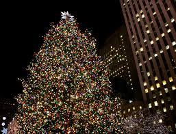 on white rockefeller center christmas tree in new york city by