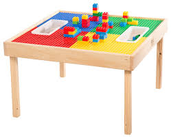 Kids Table And Chairs With Storage Reversable Lego And Duplo Wood Play Table With 2 Storage Bins