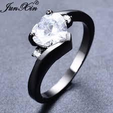 white zircon rings images Junxin cute small heart shape white zircon rings for women black jpg