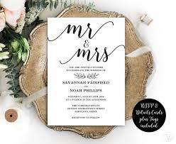 Calligraphy Wedding Invitations Modern Calligraphy Wedding Invitation Printable Wedding